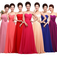 Long Evening Dress 2015 New Bride Fashion Chiffon Strapless Floor Length Wedding Party Dress Plus Size Bridesmaid Dresses = 1929503748