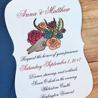 Floral and bone wedding invitations