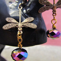 Flight- Art Nouveau Deco Antique Brass Dragonfly Purple Blue Gold Crystal earrings