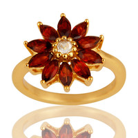 14K Yellow Gold Plated Sterling Silver Garnet & White Topaz Floral Cocktail Ring