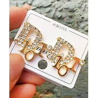 Dior Fashion New Letter More Diamond Personality Accessories Earring  Golden