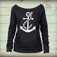 Anchor with Rope - Sweatshirt Design on Wide Neck, Slouchy, Off-Shoulder Fleece Sweatshirt. Sizes S-XL