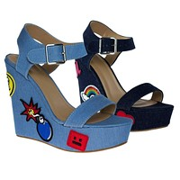 Charade33S By Bamboo, Women's Jean Pop Art Embroidered High Platform Wedge Open Toe Sandal