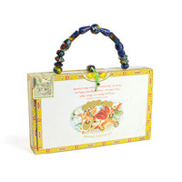 Cigar Box Purse - Upcycled La Gloria Cubana, Dominican Republic Imported Cigars Container - Glass Bead Handle - Vintage Storage Decor
