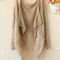 LOOSE THE BAT TYPE LONG SLEEVE WITHOUT BUCKLE AMICE KNITTED CARDIGAN