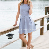 Beach Walk Seersucker Dress Curvy