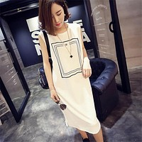 2017 Hot Women Summer Dress Sexy Casual Boho Mid-Calf Maxi Long Tshirt Slit Dress Beach Dress Vest Sundress New Fashion Clothing