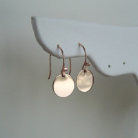 14K Rose Gold Shiny Disc Earrings . Minimalist . Modern, Graduation Gift, Sorority, Bridal Party Gift