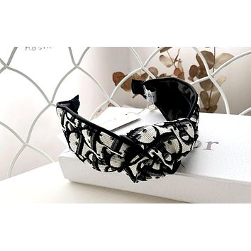 Dior 2019 new jacquard embroidery letters women's knotted headband