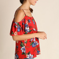 Cold Shoulder Meadow Flowers Top - Tomato