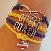 Infinity love Bracelet, Cheer Coach Bracelet, cheerleader bracelet Antique silver Charm, Blue royal yellow wax cords and Braided leather
