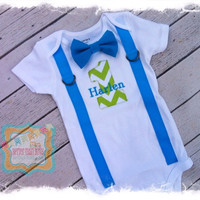 Boys 1st Birthday outfit-Bow Tie with Suspenders Cake Smash Set-Lime Green Chevron #1 with Turquoise Suspenders,Bow Tie and Name