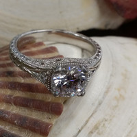 Vintage Style Halo Engagement Ring mounted in Sterling Silver with Cubic ZIrconia (1.31 CTS)