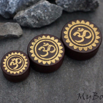 Tribal Gold Wooden Ear Plugs