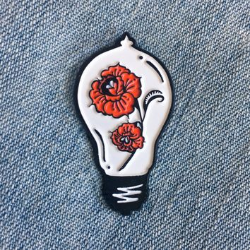 Roses in a Lightbulb Enamel Pin