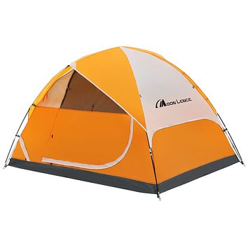 MOON LENCE Camping Tent 2/4/6 Person Family Tent Double Layer Outdoor Tent Waterproof Windproof Anti-UV … Orange 2-Person