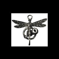 Steampunk Dragonfly Pendant Gears Necklace