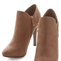 ModCloth Minimal Strut and Stroll Bootie in Taupe