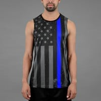 Tactical Thin Blue Line USA Flag Sleeveless Quick-Dry Jersey