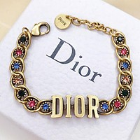 Dior New fashion multicolor diamond bracelet women Golden