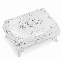 Silver-plated Rose Rectangle Jewelry Box