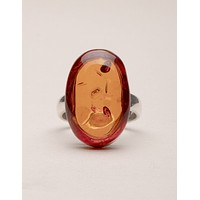 Amber Oval Ring - Adjustable Sizes 6-7