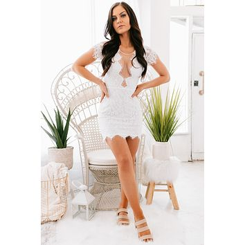 Formal Engagement Lace Dress (White)