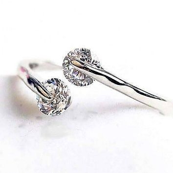 14K White Gold Plated Delicate Two Stone Simulated Diamond Cz Ring for Women