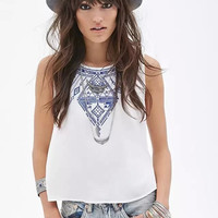 White Tribal Women Cute Designer Summer Crop Tank Tops for party, holiday beach  [4919487236]