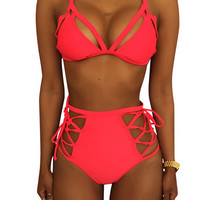 Feisty Red Straps Hollow Out Strappy High Waisted Bikini