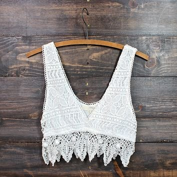 Final Sale - Pointelle Festival Crochet Crop Top in Natural