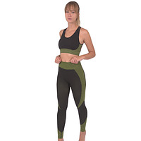 Angelica Seamless Leggings & Sports Top 2 Set - Black With Green