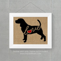 Beagle Love - Burlap or Canvas Printed Wall Art Silhouette for Dog Lovers. A Shabby Chic, Cottage Style Wall Hanging