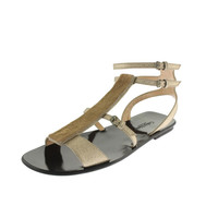 Calvin Klein Collection Womens Laurie Leather Metallic T-Strap Sandals