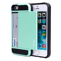 iPhone 5S Case, iPhone 5 Case, iPhone 5/5S Wallet Case, iLuvCell(TM) Protective Wallet (Credit Card) Cover Case for iPhone 5/5S (Light Green)