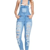 Women's Ripped Up Skinny Overalls