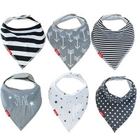 Baby Bandana Drool Bibs | 6 Pack Unisex Gift Set (Gray Collection) by Oak & Navy