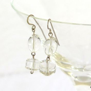 Quartz Crystal Drop Earrings, Gemstone Quartz Earrings, Gift for Her