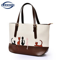 Big Capacity Women Handbag Cute Cat Solid Shoulder Bag Female Leather Designer Handbags High Quality Brand Ladies Hand Bags B046