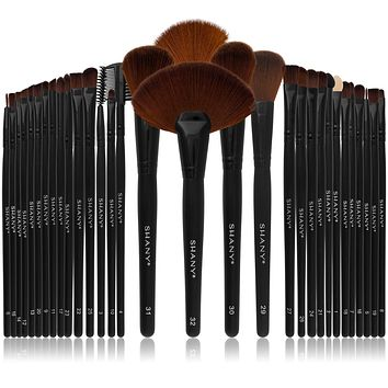 Professional Brush Set with Faux Leather Pouch, 32 Count Synthetic Bristles