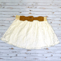Love Field Ivory Lace Belted Skirt