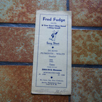 Vintage FRED FUDGE SAYS De Soto Plymouth Willys Dealer Song Sheet Huntington Park California Give Away