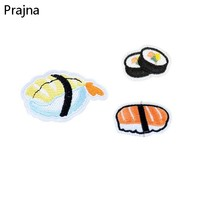 Prajna Food Sushi Patch Cute Small Sewing Patch Cheap Embroidered Patches Stripe On Clothes Cartoon Iron On Patches For Clothing