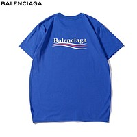 Balenciaga Fashionable Women Men Casual Print T-Shirt Top Blue