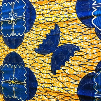African Wax Print Fabric by the HALF YARD. Yellow and Blue with Butterflies and Umbrellas