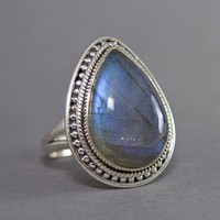 Labradorite Teardrop Intricate Sterling Silver Ring US 7.5 SS-007