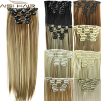 """Synthetic Hair with Clips 16 Clip in Hair Extensions False Hair Hairpieces Synthetic 23"""" Long Straight Apply Hairpiece"""
