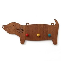 Wooden Dachshund Hook - Candy Stripe Cloud