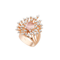 Luminus Ring in Rose Gold with Diamonds and Pink Quartz