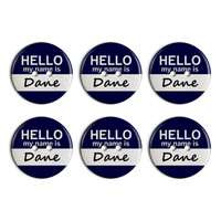 Dane Hello My Name Is Plastic Resin Button Set of 6